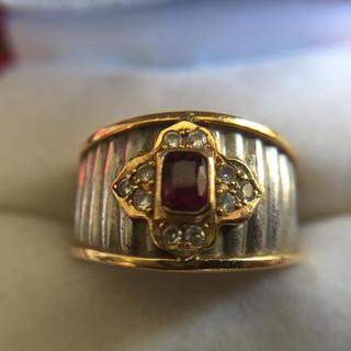 K18 Pt900  ダイヤモンド ルビー 指輪  総重量8.4g