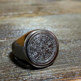 ステンレス 削り出し リング 指輪 コンパス 方位磁針  バフがけ(リング(指輪))