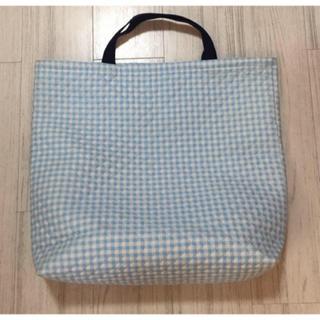 ニシマツヤ(西松屋)の美品! ライトブルー チェック柄 布製 ビッグ バッグ♡(ハンドバッグ)