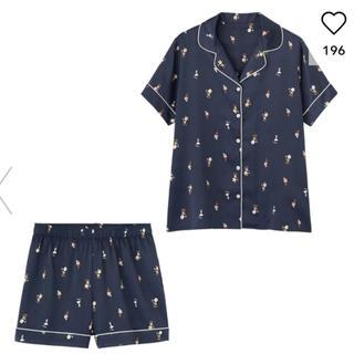 ジーユー(GU)の GU サテンパジャマ 半袖&ショートパンツPEANUTS 新品 M(パジャマ)