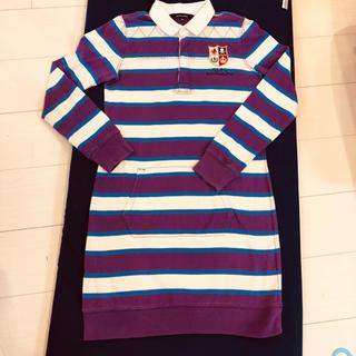 ラルフローレン(Ralph Lauren)のラルフローレン 紫ボーダーワンピース 160(ワンピース)