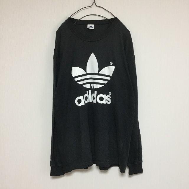 adidas(アディダス)のadidas ロンT 長袖Tシャツ カットソー ロゴ チューリップ 黒 ブラック メンズのトップス(Tシャツ/カットソー(七分/長袖))の商品写真