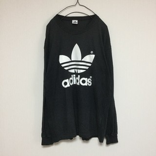 adidas ロンT 長袖Tシャツ カットソー ロゴ チューリップ 黒 ブラック
