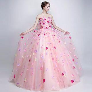 お花びら付きオーバードレス ウエディングドレス お色直し 大きなバックリボン