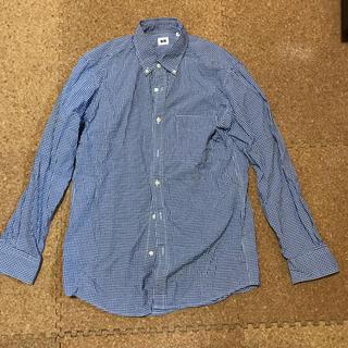 ユニクロ(UNIQLO)のユニクロ 綿100% シャツ 長袖 水色、白チェック Mサイズ(シャツ)