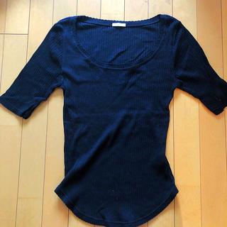 ジーユー(GU)のブラックニット トップス☆GU(カットソー(半袖/袖なし))