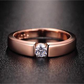 AAAランク ダイヤモンドcz 17号 リング 指輪 ピンクゴールド(リング(指輪))