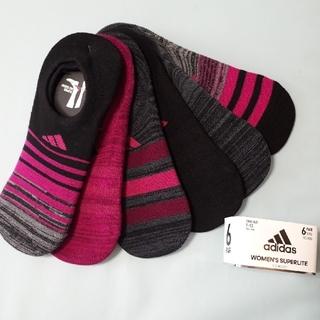 アディダス(adidas)のアディダス 靴下 23~25㎝ 6足 セット ブラック ピンク グレー (ソックス)
