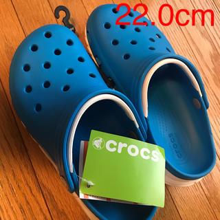 クロックス(crocs)のクロックス 22cm duet max オーシャン&ホワイト M4W6(サンダル)