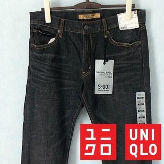 ユニクロ(UNIQLO)の【UNIQLO】 美品 タグ付 ユニクロ Slim Fit 黒ジーンズ デニム(デニム/ジーンズ)