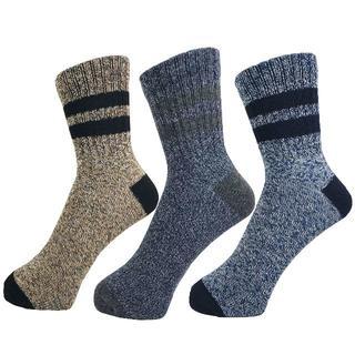 アルファ(alpha)のアルファメンズソックス靴下「杢ミックスライン」3PACK 1039 新品(ソックス)
