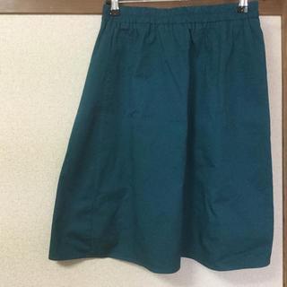 膝丈 スカート グリーン(ひざ丈スカート)