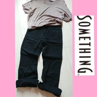 SOMETHING - EDWIN Vienus Jean💖柔らか ゆったり パンツ ワイド ブラック