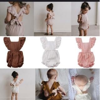 キャラメルベビー&チャイルド(Caramel baby&child )の薄ピンク 桃色 ロンパース カバーオール エプロン(カバーオール)