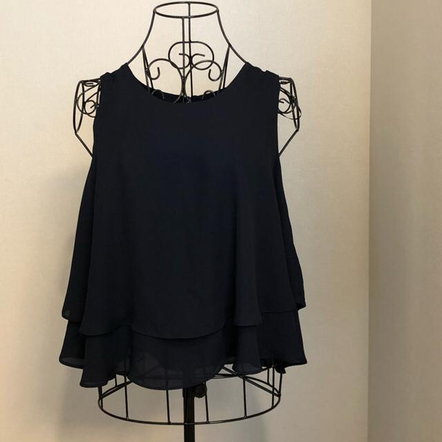 ZARA(ザラ)のZARA BASIC紺 S レディースのトップス(シャツ/ブラウス(半袖/袖なし))の商品写真