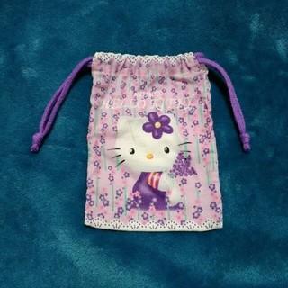 ハローキティ(ハローキティ)のハローキティ ミニ巾着 ピンク/紫 約11cm×約16cm(その他)