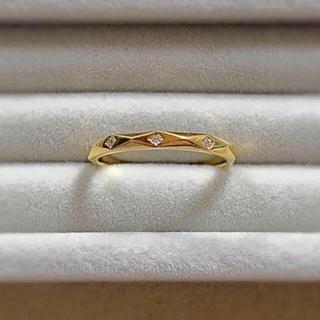 ヨンドシー(4℃)のカナル4℃ シルバー リング イエローゴールド ダイヤモンド 3石(リング(指輪))