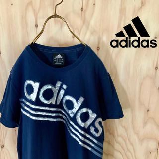 アディダス(adidas)のadidas ビッグロゴ  クラッシュデザイン シルバー tシャツ ネイビー(Tシャツ/カットソー(半袖/袖なし))