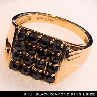k18 天然石 ブラックダイアモンド リング 16基 18金 メンズ リング(リング(指輪))