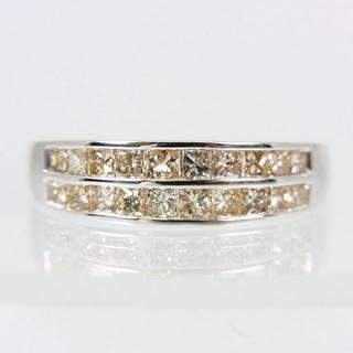 【中古】K18WG ダイヤモンド リング 15号 [f455-9](リング(指輪))
