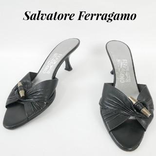 サルヴァトーレフェラガモ(Salvatore Ferragamo)のSalvatore Ferragamo  フェラガモ 7C 黒 ハイヒール(サンダル)
