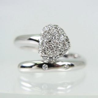 【中古】K18WG ダイヤモンド リング 7号[f456-2](リング(指輪))