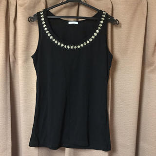 ジーユー(GU)のジーユー ビーズ刺繍トップス ブラック Lサイズ(カットソー(半袖/袖なし))