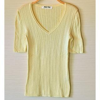 ミュウミュウ(miumiu)の美品🌺miumiu ニットソー コットン100% 半袖 カットソー (カットソー(半袖/袖なし))