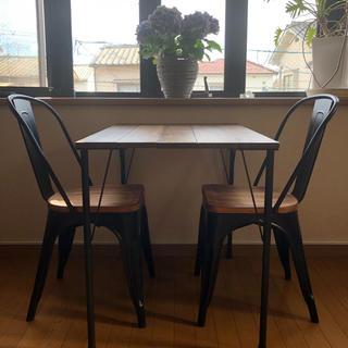 ハンドメイド アンティーク風テーブル アイアンレッグ