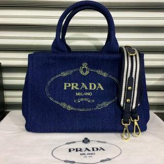 2f8052e690a5 プラダ(PRADA)のPRADA カナパ デニムブルー ストライプ柄 Sサイズ(ショルダーバッグ