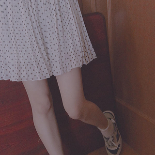 シマムラ(しまむら)の𓆉お値下げ中‼️しまむら プリーツスカート ドット柄 GALYGE Mサイズ(ミニスカート)