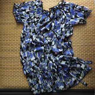 ジーユー(GU)のジーユー シースルー ふんわりチュニック  トップス 半袖 ウエストリボン調節 (シャツ/ブラウス(半袖/袖なし))