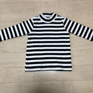 シマムラ(しまむら)の新品未使用品 しまむら ボーダーロングTシャツ♡ ホワイト×ブラック 90cm(Tシャツ/カットソー)