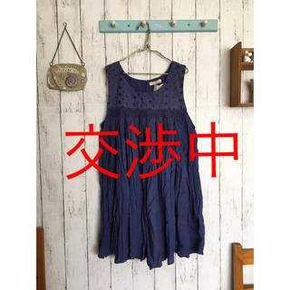 新品・未使用*胸元刺繍 たっぷりギャザーのコットンワンピ*for  girls(ワンピース)