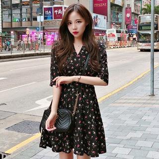 韓国ファッション ワンピース 花柄 レディース 五分丈 半袖 夏