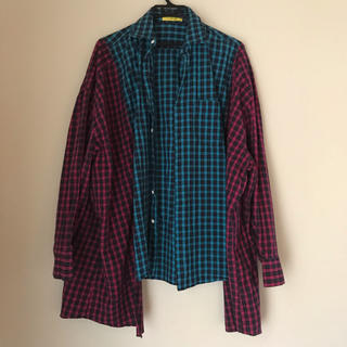 ミックスエックスミックス(mixxmix)の韓国 チェックデザインシャツ(シャツ/ブラウス(長袖/七分))