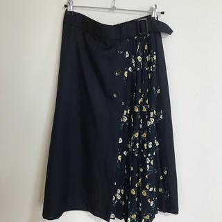 シマムラ(しまむら)の花柄スカート L ネイビー(ロングスカート)