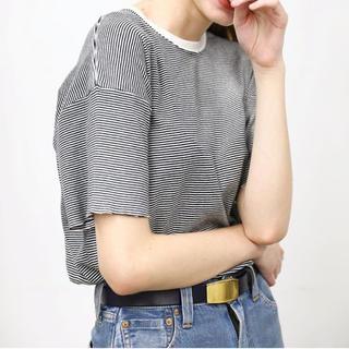 ワンエルディーケーセレクト(1LDK SELECT)の新品 LENO&CO BORDER TEE  黒白 ボーダー タグ付き(Tシャツ(半袖/袖なし))