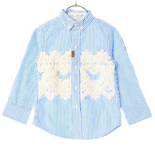 ゴートゥーハリウッド(GO TO HOLLYWOOD)の★ゴートゥーハリウッド シャツストライプ マケラッシュ 刺繍シャツ 100㌢★(Tシャツ/カットソー)