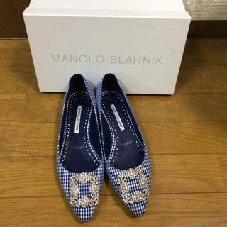 マノロブラニク(MANOLO BLAHNIK)のManolo Blahnik ギンガムチェック 38(バレエシューズ)