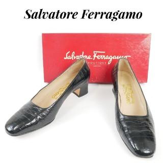 サルヴァトーレフェラガモ(Salvatore Ferragamo)のSalvatore Ferragamo  フェラガモ 6 1/2D 黒 パンプス(ハイヒール/パンプス)