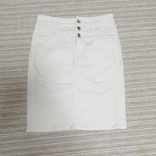 ジーユー(GU)の膝丈白デニムスカート 本日限定値下げ。(ひざ丈スカート)