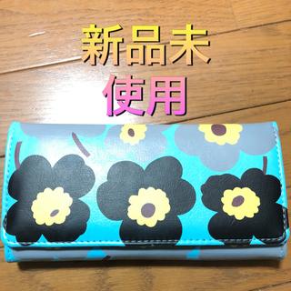 マリメッコ(marimekko)のフラワー柄 長財布 新品未使用 ブルー(財布)