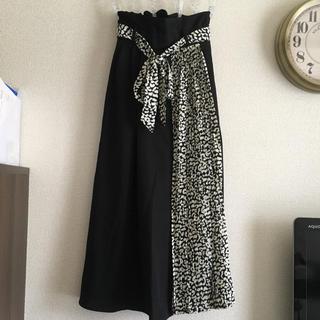 しまむら - 新品   Mサイズ  プリーツ 切り替え ロング スカート アニマル レオパード