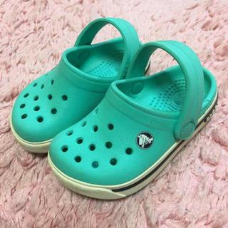 クロックス(crocs)のクロックス   crocs  キッズ  13cm  4/5c 黄緑色 +白色(サンダル)