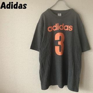 アディダス(adidas)の【人気】アディダス ビックロゴプリントTシャツ グレー サイズO オレンジロゴ(Tシャツ/カットソー(半袖/袖なし))