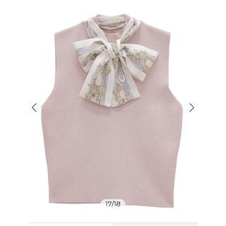 eimy istoire - eimy istoire スカーフデザインノースリニットプルオーバー ピンク