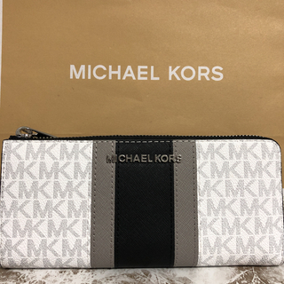 マイケルコース(Michael Kors)のMICHAEL マイケルコース 長財布 シグネチャー  ホワイト✖︎ブラック(財布)