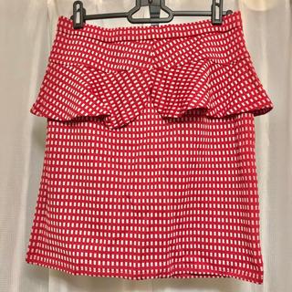 ジーユー(GU)の【新品/タグ付き】 GU  ペプラムスカート ギンガムチェック  ミニスカート(ミニスカート)