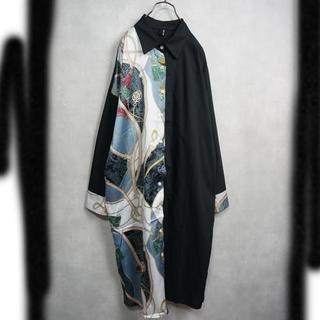 ハーフデザイン ロングシャツワンピース スカーフ柄(シャツ/ブラウス(長袖/七分))